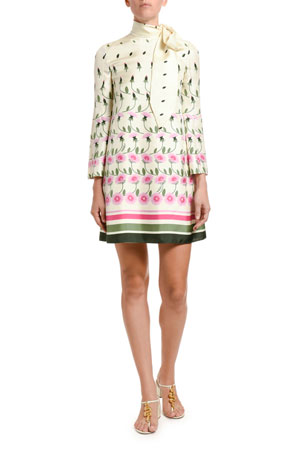 Valentino Floral-Print Silk Tie-Neck Shift Dress