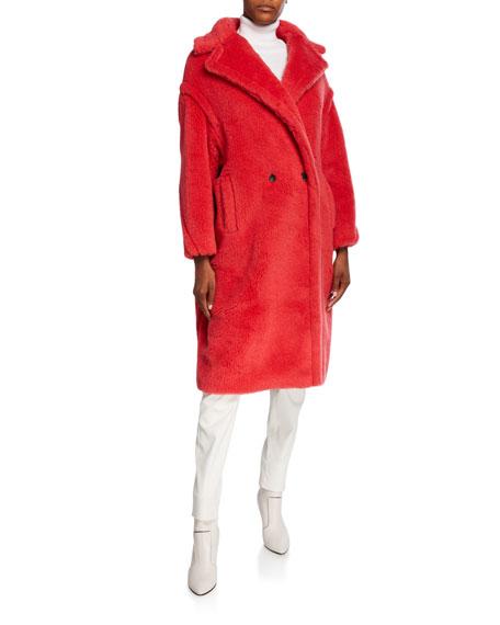 Maxmara Oversized Fuzzy Teddy-Knit Coat, Coral