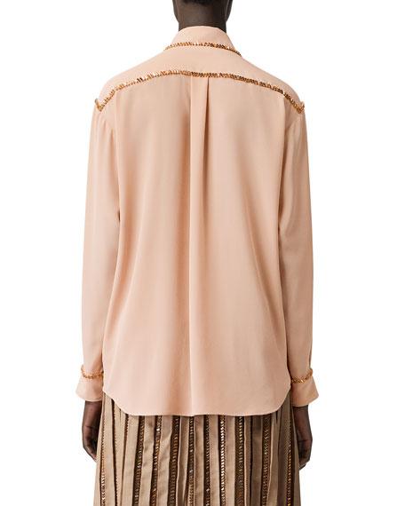 Burberry Jeweled Button-Down Long-Sleeve Silk Shirt