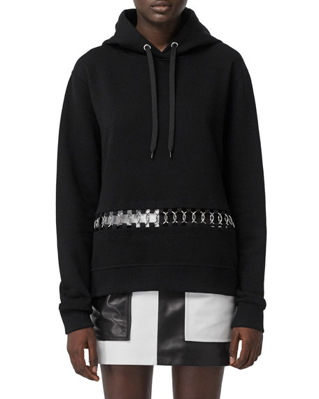 Burberry Poulter Oversized Ring-Inset Hoodie Sweatshirt