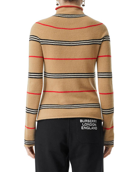 Burberry Waita Cashmere Icon-Striped Tunic Sweater