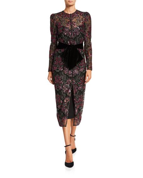 Monique Lhuillier Floral Sequined Tulle Dress