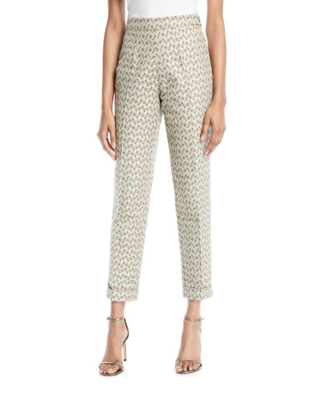 Brock Collection Peregrine High-Rise Skinny Floral-Jacquard Pants