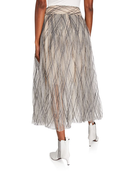 Brunello Cucinelli Monili-Argyle Tulle Skirt