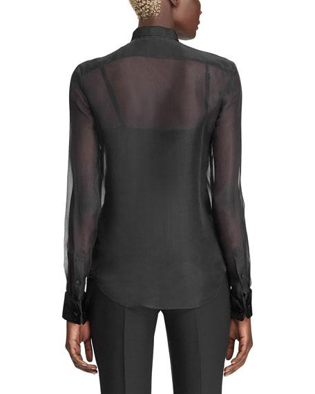 Ralph Lauren Collection Organza Velvet Bibbed Blouse