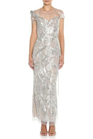 Marchesa Metallic Sequined Illusion Gown