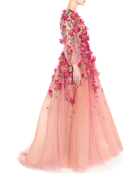 Marchesa Ombre Tulle A-Line Gown