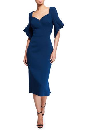 Zac Posen Ruffled Short-Sleeve Sheath Dress