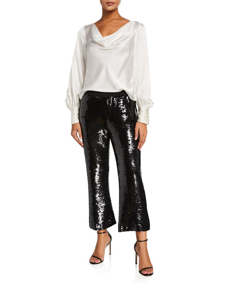 Figue Verushka Sequined Flared Crop Pants