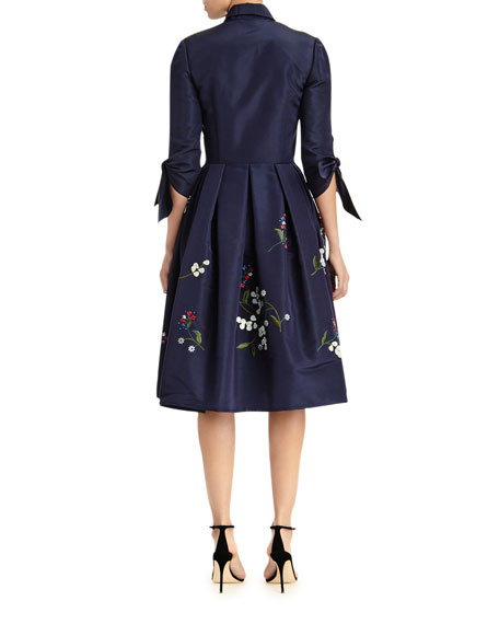 Image 2 of 2: Carolina Herrera Floral Embroidered Tie-Sleeve Shirtdress