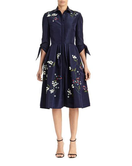 Image 1 of 2: Carolina Herrera Floral Embroidered Tie-Sleeve Shirtdress