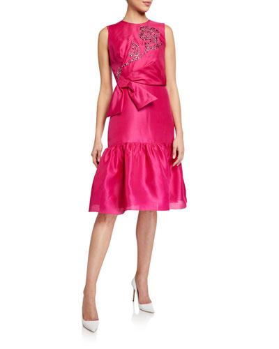 Embroidered-Taffeta Ruffled Dress