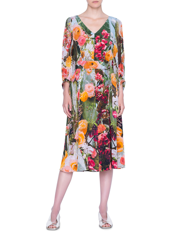 Akris punto Cactus Silk Crepe Midi Dress