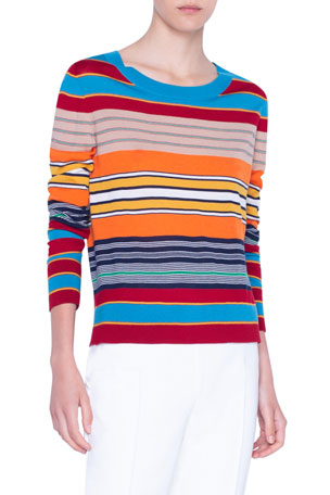 Akris punto Striped Ribbed Merino Sweater