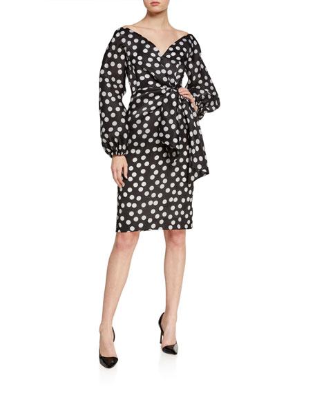 Carolina Herrera Polka-Dot Organza Puff-Sleeve Dress