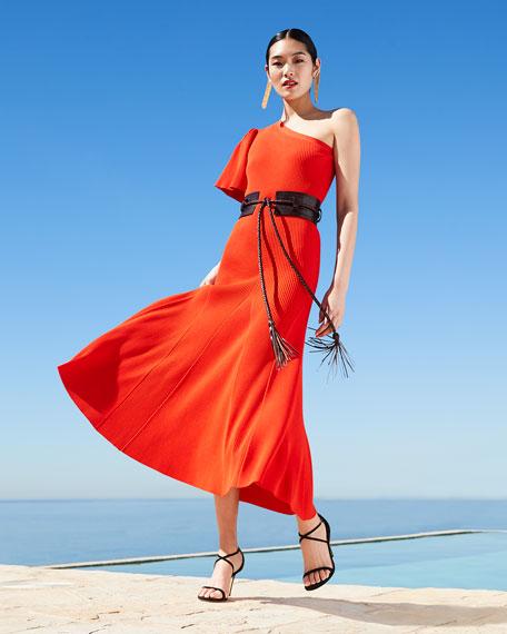 Carolina Herrera One-Shoulder Flutter Sleeve Knit Dress