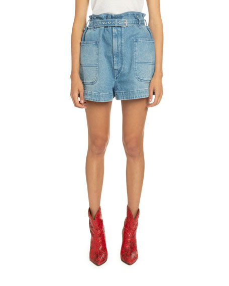 Isabel Marant Belted Denim Shorts