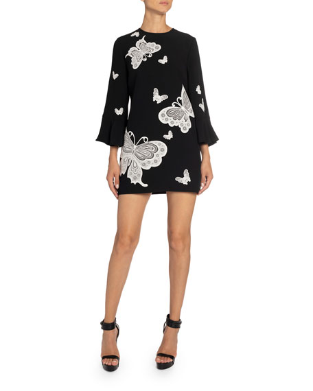 Andrew Gn Butterfly-Embroidered Bell-Sleeve Mini Dress