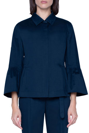 Akris punto Stretch Satin Kent-Collar Jacket