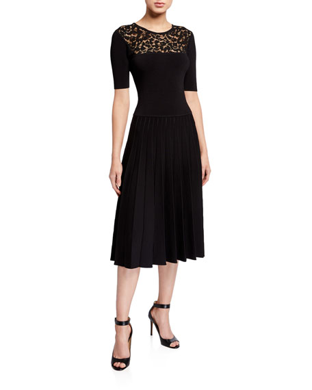Jason Wu Collection Lace-Yoke Half-Sleeve Pleated Dress