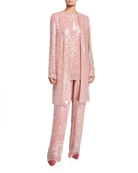 Sally LaPointe Sequined Jersey High-Rise Trousers, Pink
