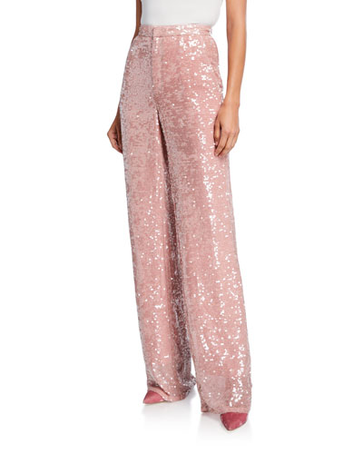 Sequined Jersey High-Rise Trousers  Pink