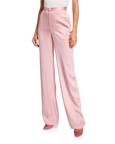 Sally LaPointe Satin High-Rise Trousers