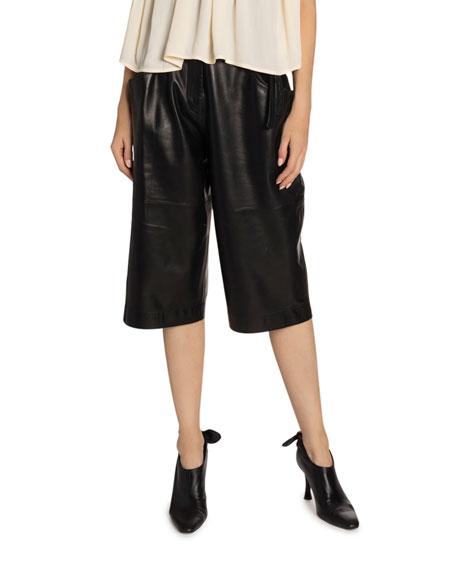Proenza Schouler Leather High-Waist Belted Shorts