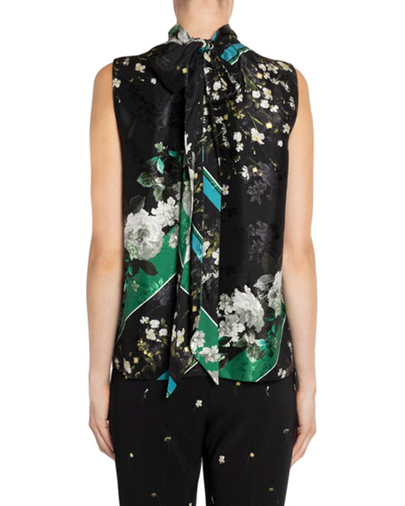 Erdem Koren High-Neck Floral & Striped Pleated Midi DressORAMIATOP???