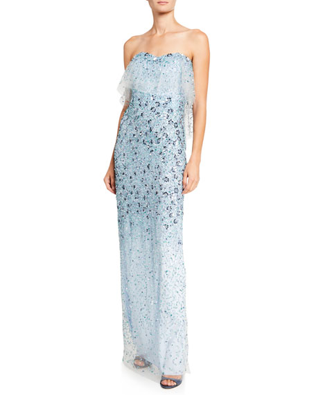 Image 1 of 2: Pamella Roland 3D-Flower Embroidered Strapless Gown
