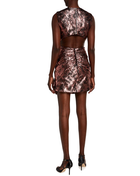 Image 2 of 2: Halpern Ruched Metallic Cutout-Back Mini Dress