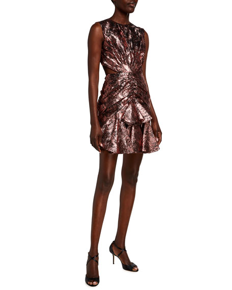 Image 1 of 2: Halpern Ruched Metallic Cutout-Back Mini Dress