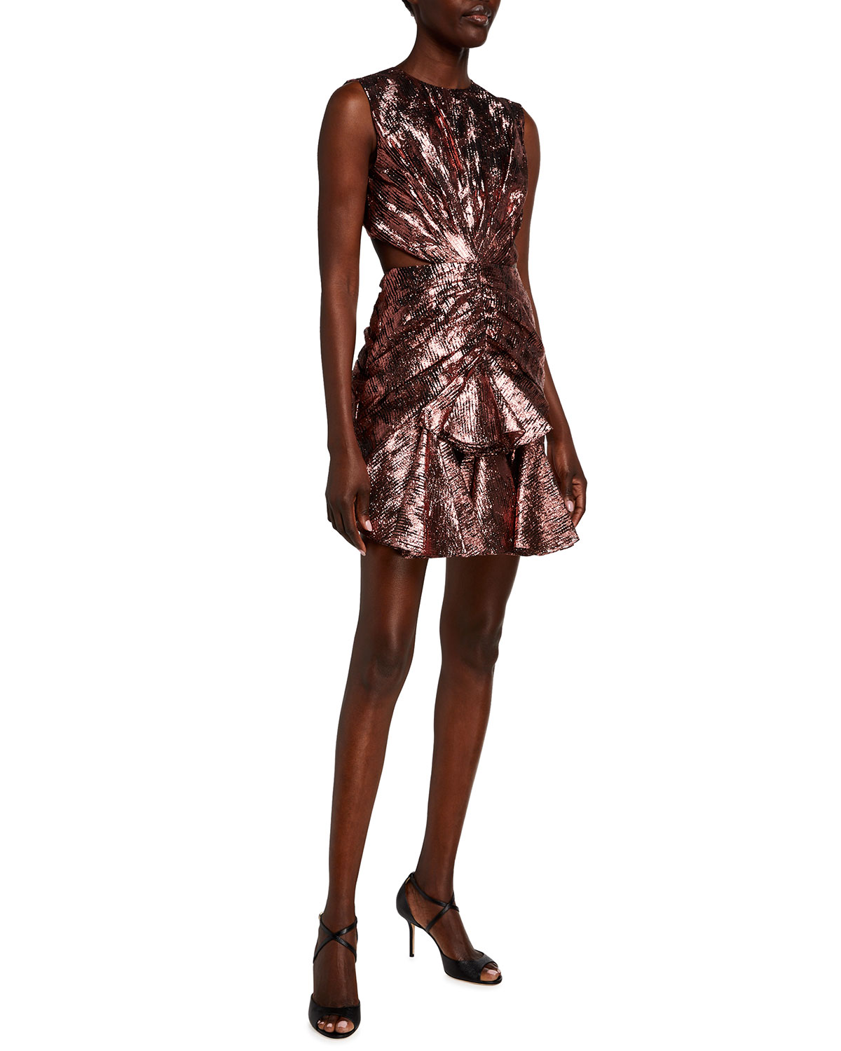 Halpern Ruched Metallic Cutout-Back Mini Dress