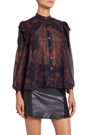 Chloe Floral-Print Silk Long-Sleeve Blouse