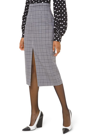 Michael Kors Collection Plaid Wool Slit-Hem Pencil Skirt
