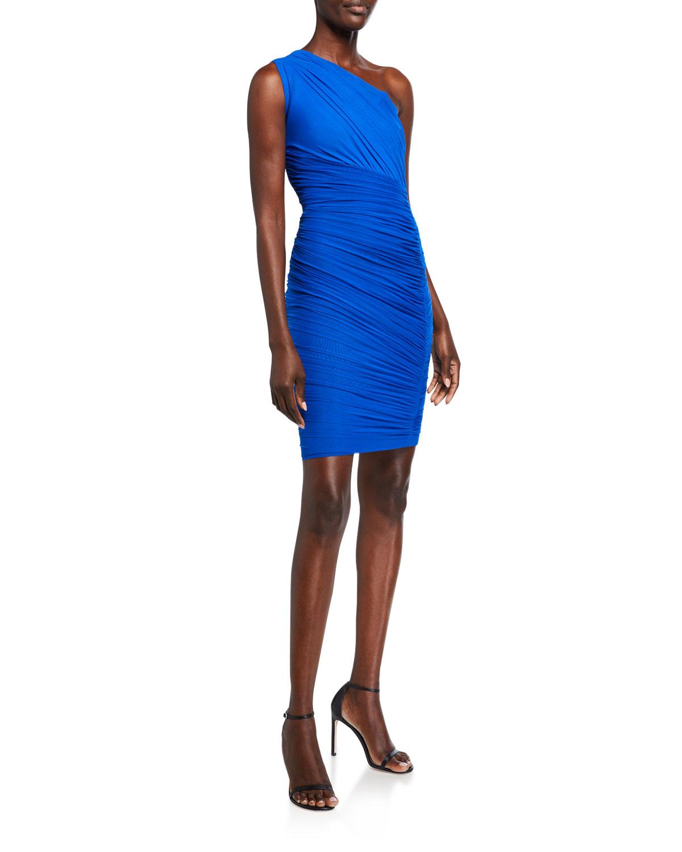 Herve Leger One-Shoulder Draped Jersey Dress