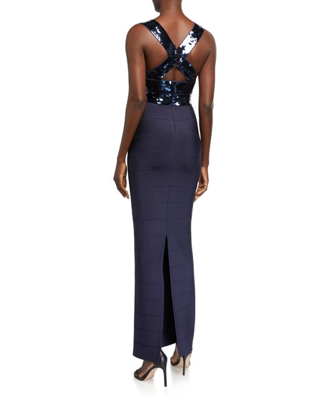Herve Leger Sequined Bandage-Knit Gown