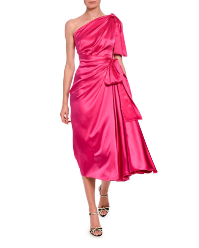 Silk-Taffeta One-Sleeve Ruched Cocktail Dress