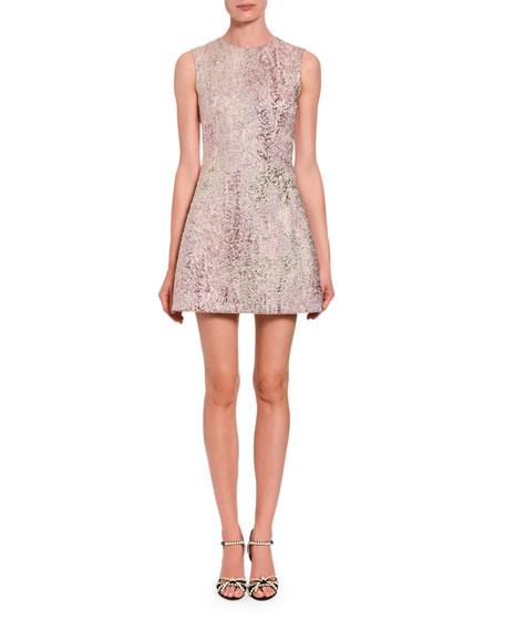 Dolce & Gabbana Sleeveless Metallic Jacquard A-Line Dress In Multi