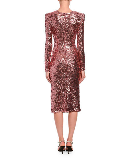 Image 2 of 2: Long-Sleeve Sequined V-Neck Cocktail Dress
