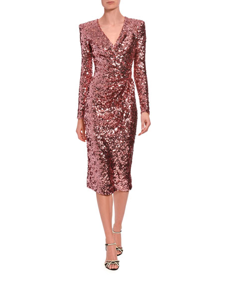 Image 1 of 2: Long-Sleeve Sequined V-Neck Cocktail Dress
