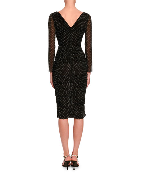 Image 2 of 2: Dolce & Gabbana Ruched-Mesh Long-Sleeve Midi Dress
