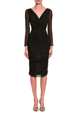 Dolce & Gabbana Ruched-Mesh Long-Sleeve Midi Dress