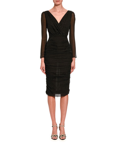 Image 1 of 2: Dolce & Gabbana Ruched-Mesh Long-Sleeve Midi Dress