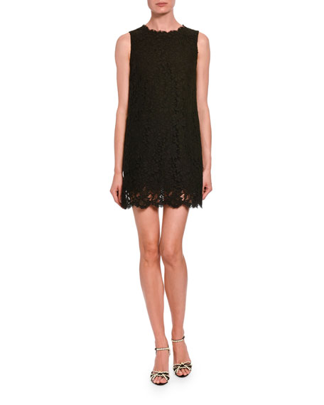 Dolce & Gabbana Lace Sleeveless Cocktail Dress In Black