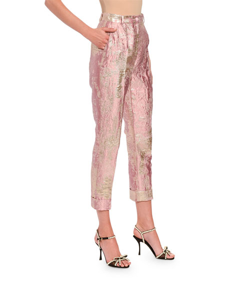 Image 3 of 3: Dolce & Gabbana Jacquard Lame Slim Leg Pants