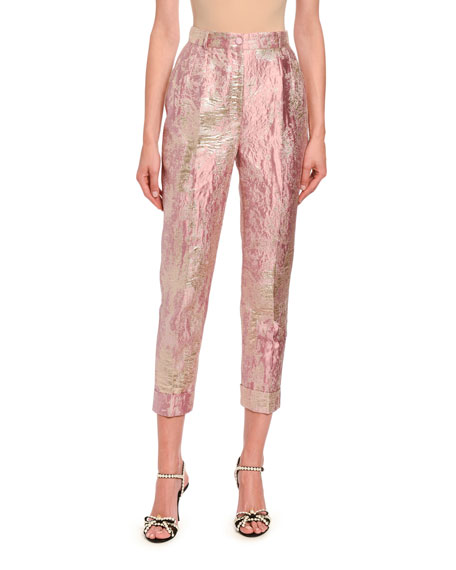 Image 1 of 3: Dolce & Gabbana Jacquard Lame Slim Leg Pants