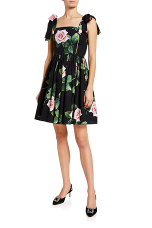 Dolce & Gabbana Spaghetti Tie Sleeve Floral Dress