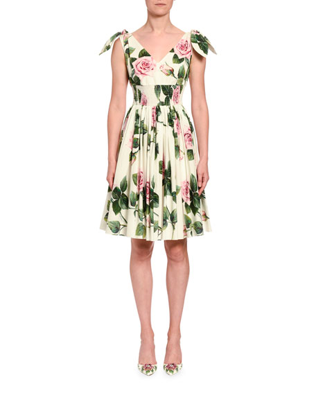 Dolce & Gabbana Rose Print Tie-Shoulder Fit-&-Flare Dress In White Pattern