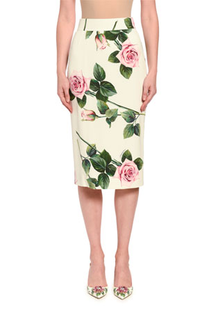 Dolce & Gabbana Floral-Print Crepe Midi Skirt